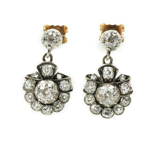 Victorian Diamond Drop Earrings with Gorgeous Details
