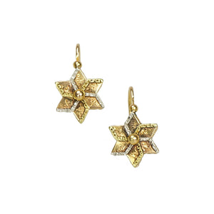 antique pinwheel shaped victorian earrings gold back loaders