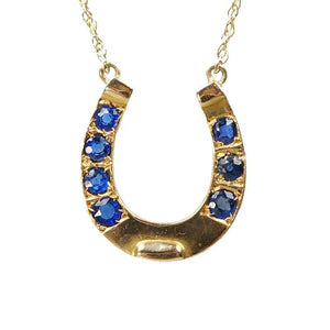Vintage Golden Horseshoe Necklace set with Blue Sapphires