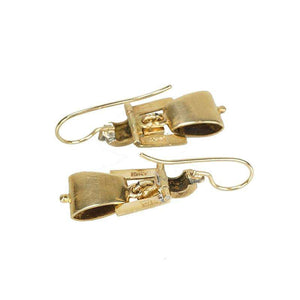 Victorian Revival Gold and Black Enamel Earrings - Gem Set Love