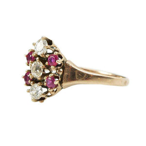 Victorian Ring set with Old Mine Diamonds and Rubies