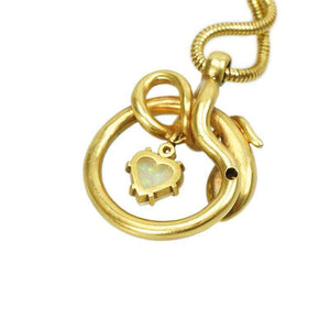 Antique 18k Gold Snake Pendant with Gems