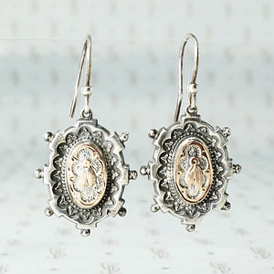 Charming Victorian Gold and Sterling Fly Earrings