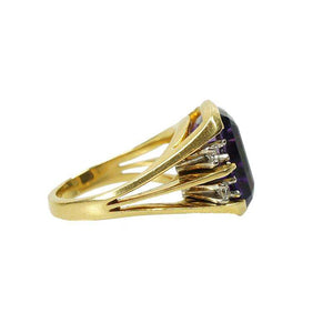 Gorgeous Retro Large Amethyst Ring in 18k Yellow Gold