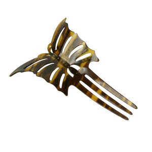 Detail of 1920's celluloid hair pin butterfly motif