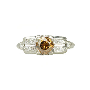 Fancy Cognac Diamond Art Deco Engagement Ring - Gem Set Love
