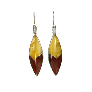 Long dangly vintage silver and amber earrings