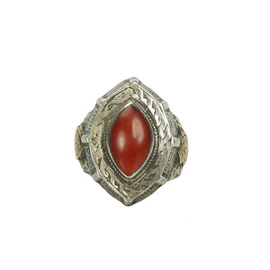 Tribal silver ring hand wrought engraves set with a carnelian stone