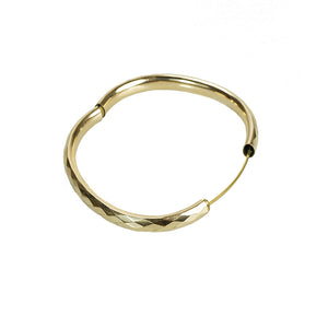Stackable Vintage Faceted Gold Filled Bangle Bracelet - Gem Set Love