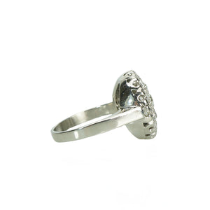Side view of platinum and diamond ring
