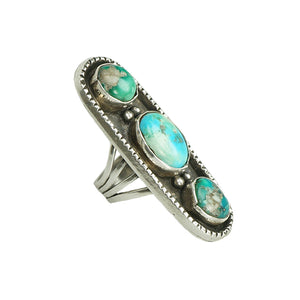 detailedside view of turquoise and sterling vintage native american ring