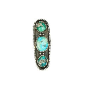 large vintage sterling silver and turquoise ring from the 1960s