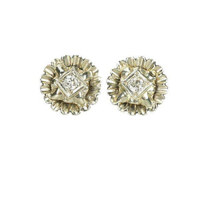 White Gold Fancy Vintage Diamond Stud Earrings - Gem Set Love