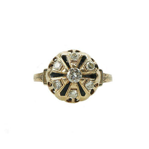 Vintage Victorian Revival Yellow Gold and Diamond Ring with enamel