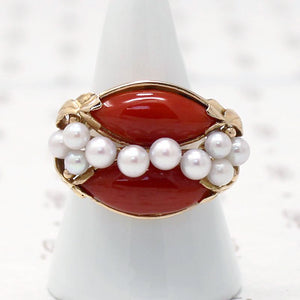 Signed Ming's Red Coral and Pearl Gold Ring