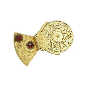 Antique Watch Cock Brooch set with rose cut Garnets