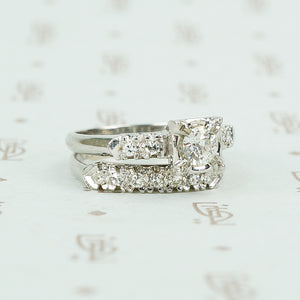 1940's white gold diamond wedding set