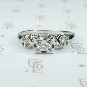 Lovely Vintage 1950's White Gold Wedding Set
