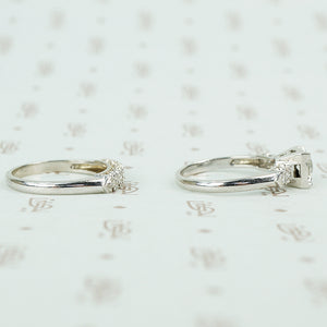 1940's white gold diamond wedding set sides