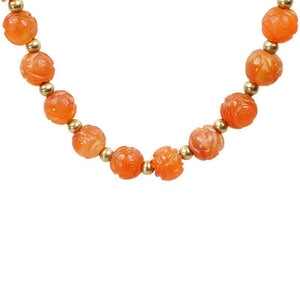 Vintage Carved Carnelian Bead Necklace Double Happiness
