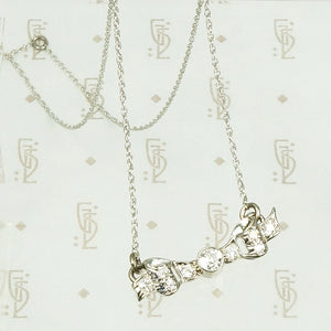 Pretty 1020's Diamond Set Bow Necklace