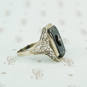 deco onyx and diamond ring in white gold filigree