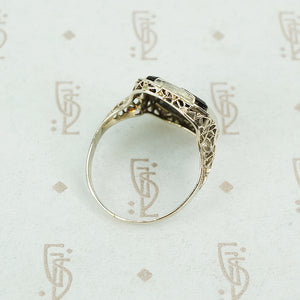deco onyx and diamond ring in white gold filigree side view