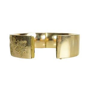 Wide Victorian Gold Filled Bangle with Floral Engraving - Gem Set Love