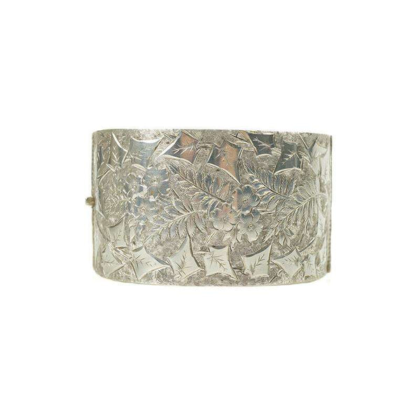 Wide engraved silver hinged Victorian Bangle
