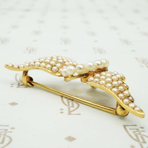 Gold Pearl Set Winged Wheel Brooch