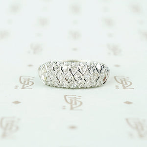 fancy wide white gold diamond band vintage