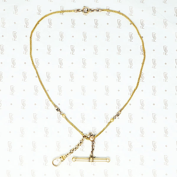 gold short antique chain with t bar and hook