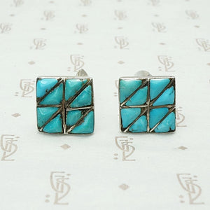 Geometric Turquoise Inlay Silver Cuff Links