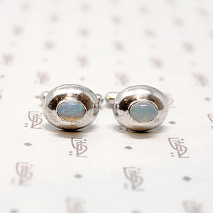 Dreamy Silver & Opal Cuff Links