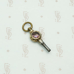 Amethyst & Chalcedony Gold Sheeted Watch Key