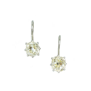 pale yellow omc platinum lever back drop earrings 2.28 tcw