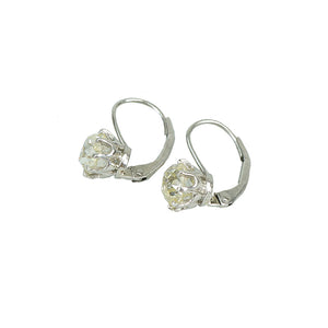 pale yellow omc platinum lever back drop earrings 2.28 tcw side view