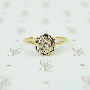 1920's yellow gold filigree diamond ring