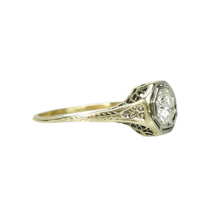 Deco Yellow Gold Filigree Engagement Ring - Gem Set Love