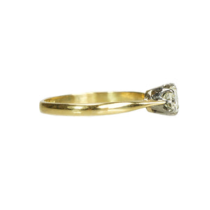 Vintage 2 tone solitaire with a Pale Yellow Diamond - Gem Set Love
