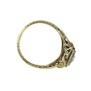 Deco Yellow Gold Filigree Engagement Ring