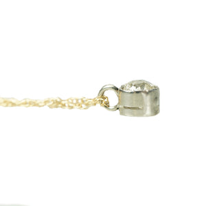 Orbit Platinum and Yellow Gold Solitaire Pendant - Gem Set Love