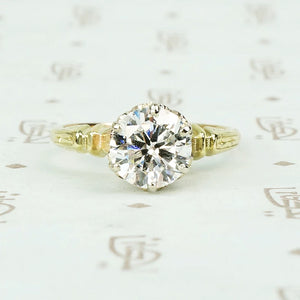 1.32 carat f color I1 Transitional cut diamond vintage solitaire