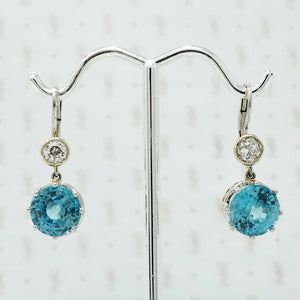 blue zircon and oec diamond drop earrings on platinum ear wires