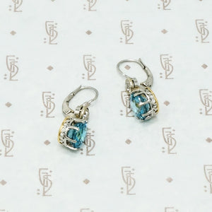 natural blue zircon and omc diamond earrings