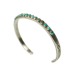 Vintage Silver and Turquoise Thin Zuni Cuff
