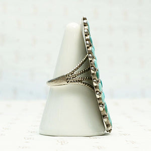 Incredible Huge Zuni Turquoise Ring, side view.