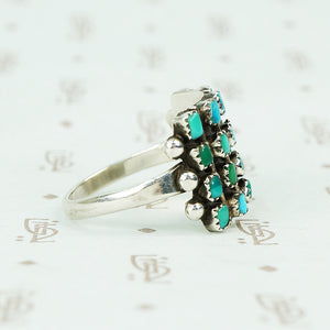 vintage silver Zuni petit point ring side view