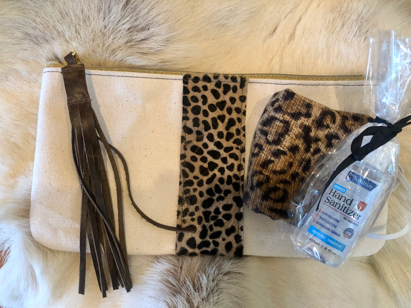 Leopard Travel Clutch with Mask