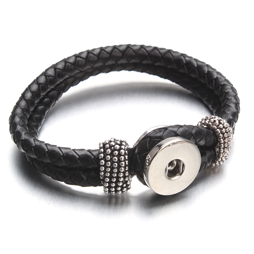 Bracelet - Braided Leather, Black
